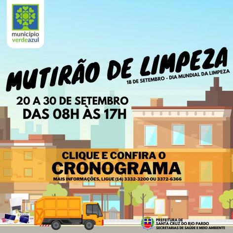 CRONOGRAMA MUTIRÃO DE LIMPEZA SETEMBRO DE 2021
